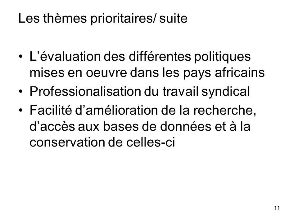 11 Les thèmes prioritaires/ suite Lévaluation des différentes politiques mises en oeuvre dans les pays africains Professionalisation du travail syndical Facilité damélioration de la recherche, daccès aux bases de données et à la conservation de celles-ci