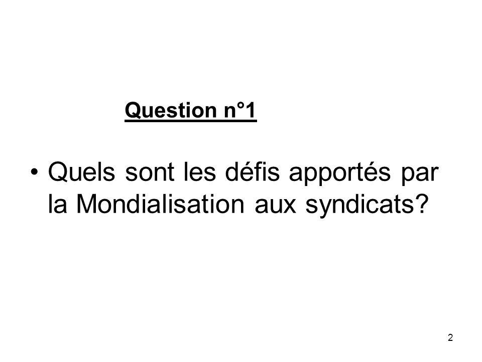 2 Question n°1 Quels sont les défis apportés par la Mondialisation aux syndicats?