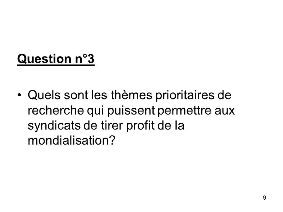 9 Question n°3 Quels sont les thèmes prioritaires de recherche qui puissent permettre aux syndicats de tirer profit de la mondialisation?