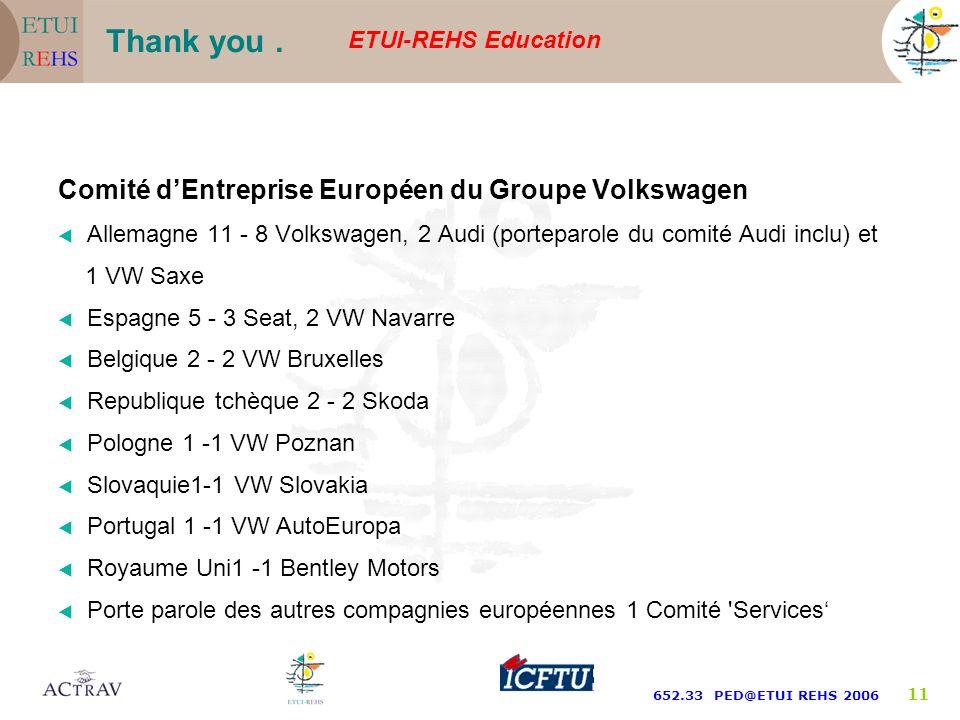 ETUI-REHS Education 652.33 PED@ETUI REHS 2006 10 Le CEE a été crée en 1990. Il sappelle Comité dEntreprise Européen du Groupe Volkswagen (Europäischer