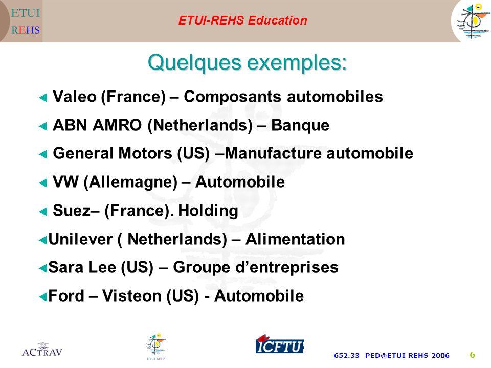 ETUI-REHS Education 652.33 PED@ETUI REHS 2006 6 Valeo (France) – Composants automobiles ABN AMRO (Netherlands) – Banque General Motors (US) –Manufacture automobile VW (Allemagne) – Automobile Suez– (France).