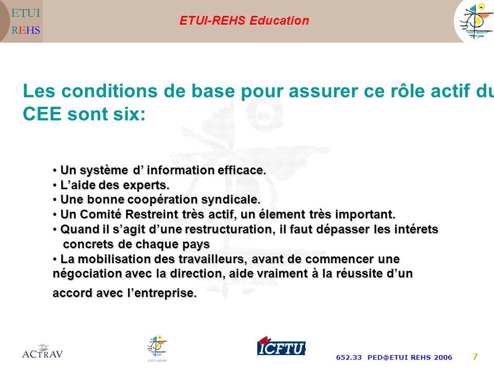 ETUI-REHS Education 652.33 PED@ETUI REHS 2006 7 Un système d information efficace.