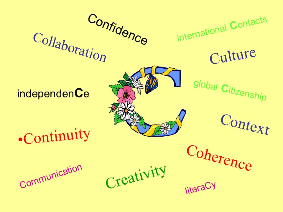 Collaboration Continuity Culture Coherence Creativity Context independen C e Confidence Communication literaCy global C itizenship international C ont