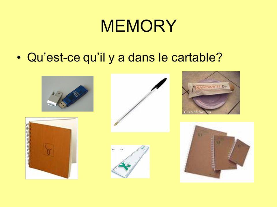 MEMORY Quest-ce quil y a dans le cartable?