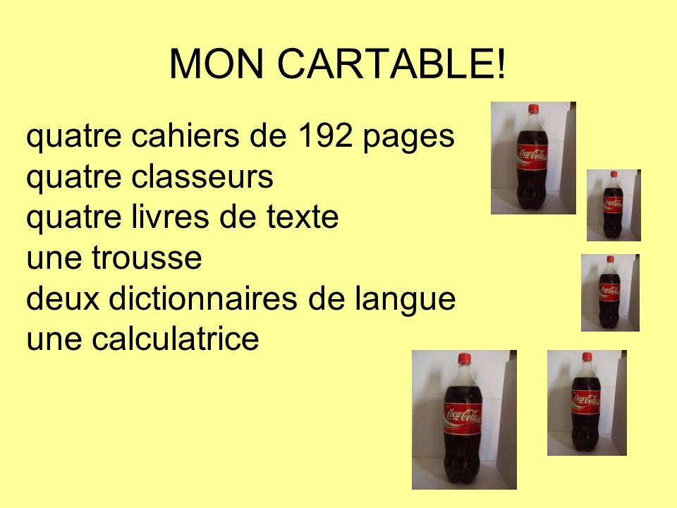 MON CARTABLE! quatre cahiers de 192 pages quatre classeurs quatre livres de texte une trousse deux dictionnaires de langue une calculatrice
