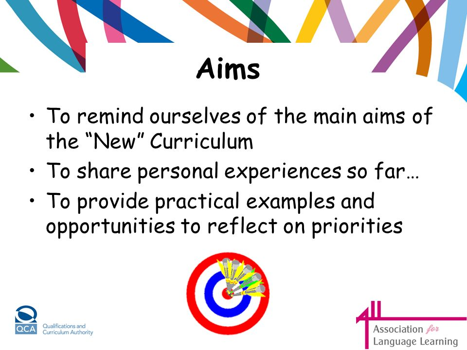 Aims To remind ourselves of the main aims of the New Curriculum To share personal experiences so far… To provide practical examples and opportunities to reflect on priorities