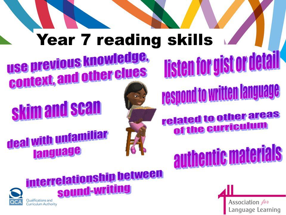 Year 7 reading skills