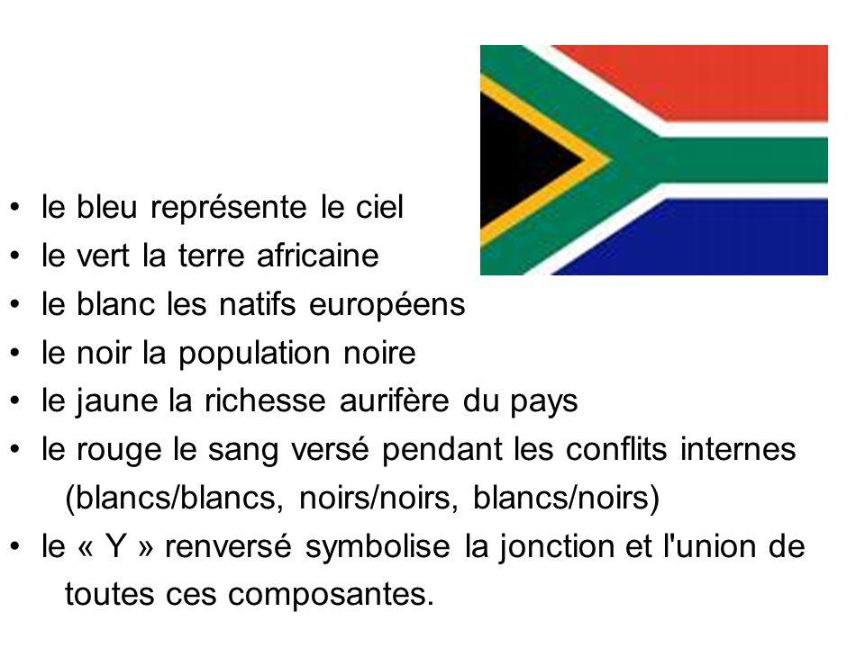 le bleu représente le ciel le vert la terre africaine le blanc les natifs européens le noir la population noire le jaune la richesse aurifère du pays