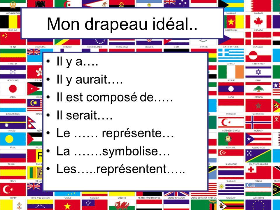 Mon drapeau idéal.. Il y a…. Il y aurait…. Il est composé de.…. Il serait…. Le …… représente… La …….symbolise… Les…..représentent…..