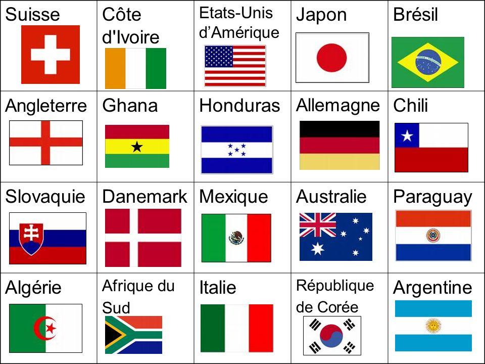 SuisseCôte d'Ivoire Etats-Unis dAmérique JaponBrésil Angleterre GhanaHonduras Allemagne Chili Slovaquie DanemarkMexiqueAustralieParaguay Algérie Afriq