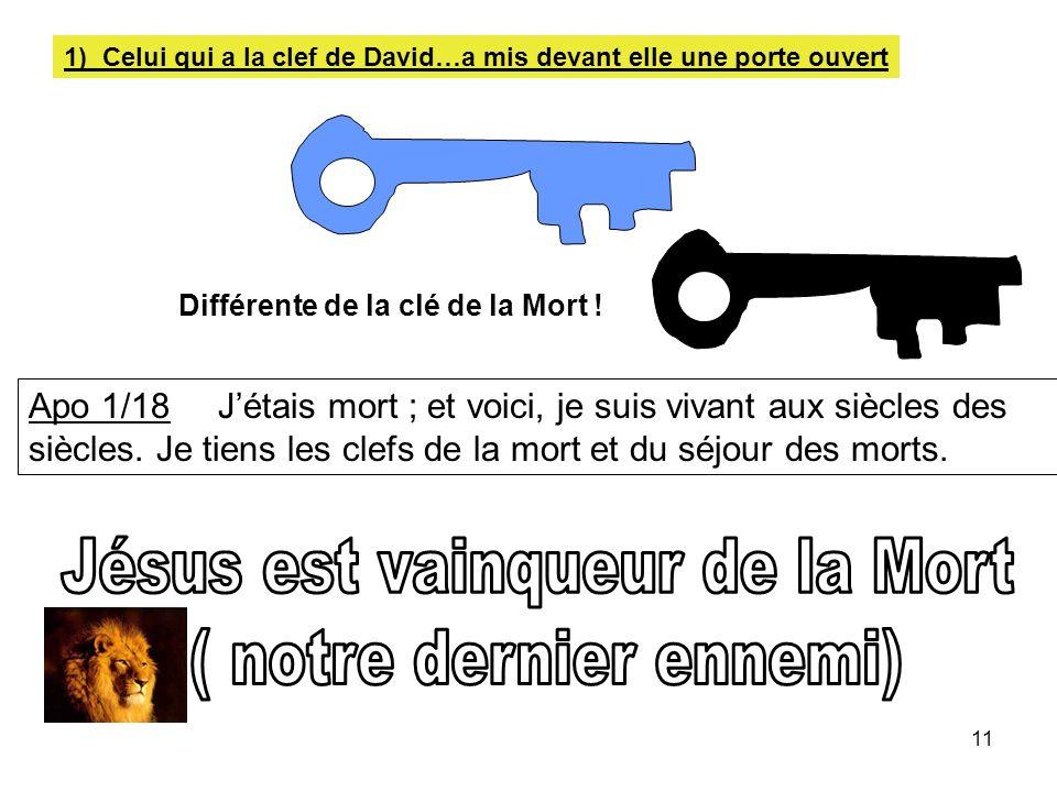 11 1) Celui qui a la clef de David…a mis devant elle une porte ouvert Différente de la clé de la Mort ! Apo 1/18 Jétais mort ; et voici, je suis vivan