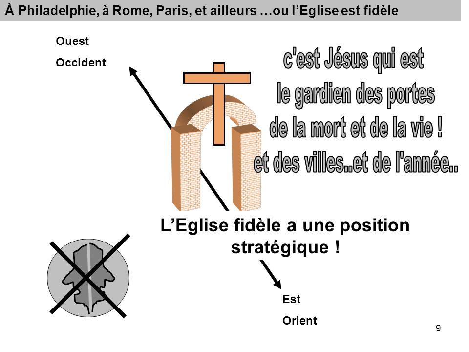 9 Ouest Occident Est Orient À Philadelphie, à Rome, Paris, et ailleurs …ou lEglise est fidèle LEglise fidèle a une position stratégique !