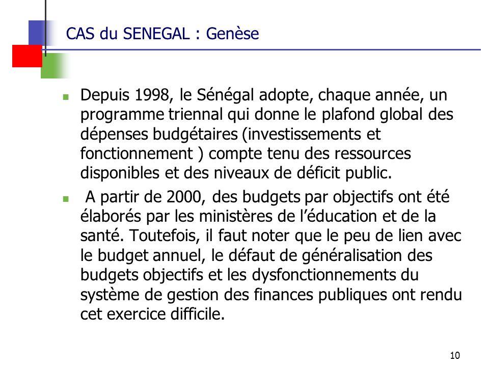 10 CAS du SENEGAL : Genèse Depuis 1998, le Sénégal adopte, chaque année, un programme triennal qui donne le plafond global des dépenses budgétaires (investissements et fonctionnement ) compte tenu des ressources disponibles et des niveaux de déficit public.