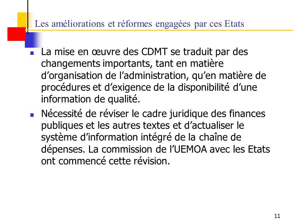 11 Les améliorations et réformes engagées par ces Etats La mise en œuvre des CDMT se traduit par des changements importants, tant en matière dorganisation de ladministration, quen matière de procédures et dexigence de la disponibilité dune information de qualité.