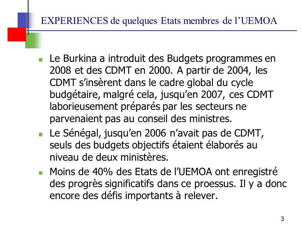 3 EXPERIENCES de quelques Etats membres de lUEMOA Le Burkina a introduit des Budgets programmes en 2008 et des CDMT en 2000.