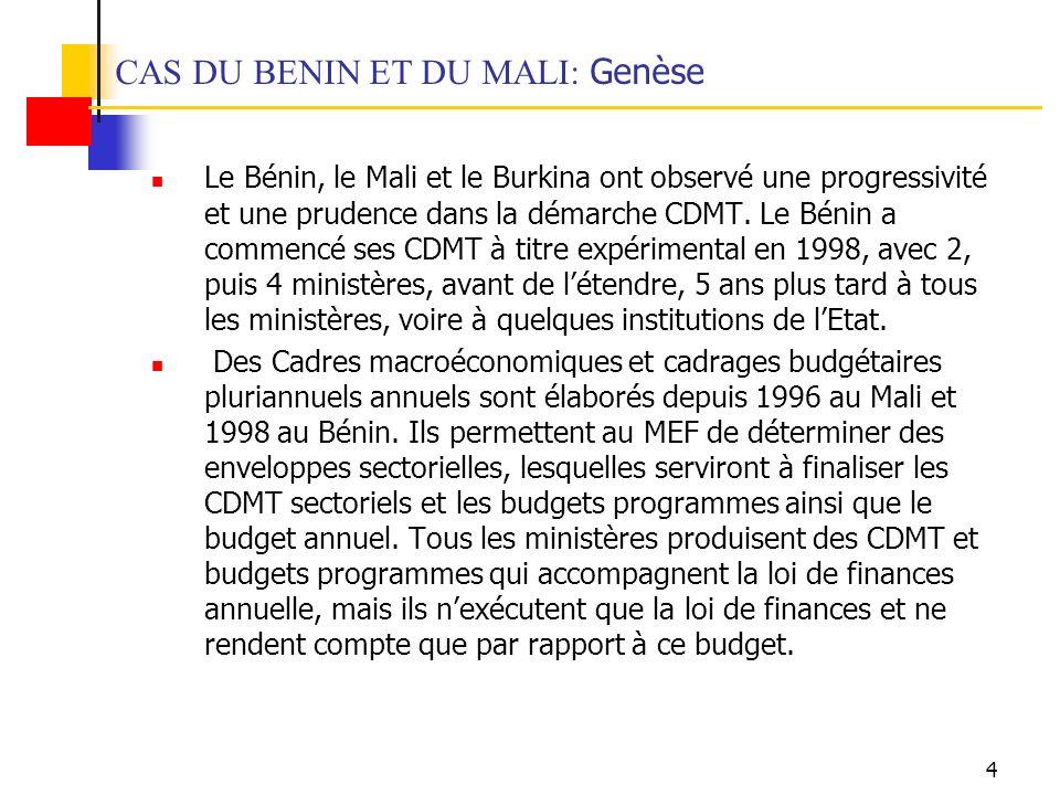 4 CAS DU BENIN ET DU MALI: Genèse Le Bénin, le Mali et le Burkina ont observé une progressivité et une prudence dans la démarche CDMT.