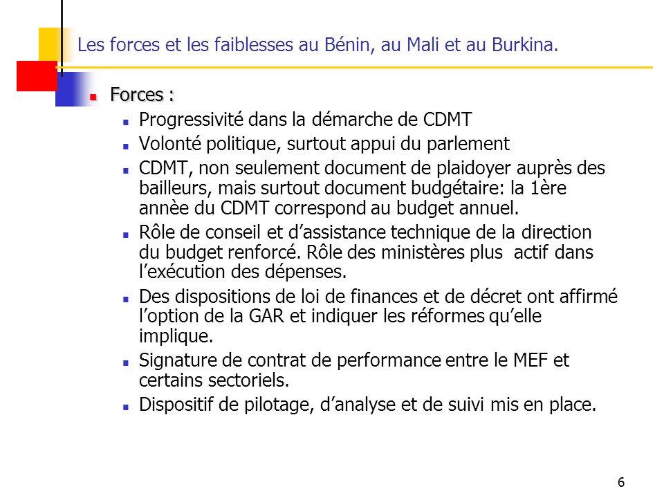 6 Les forces et les faiblesses au Bénin, au Mali et au Burkina.