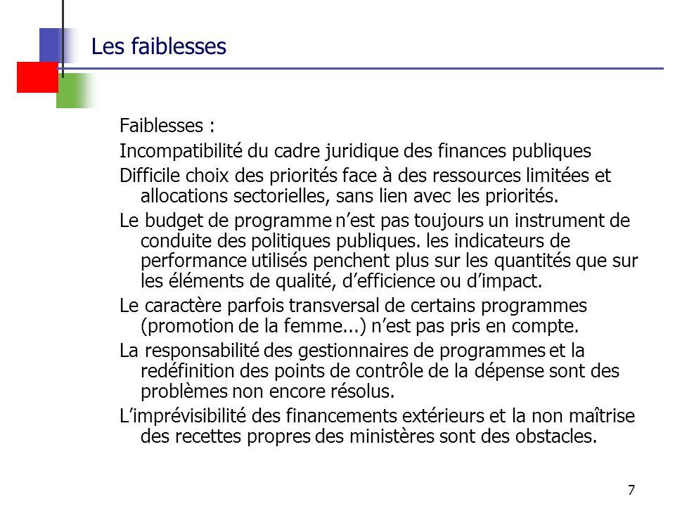 7 Les faiblesses Faiblesses : Incompatibilité du cadre juridique des finances publiques Difficile choix des priorités face à des ressources limitées et allocations sectorielles, sans lien avec les priorités.