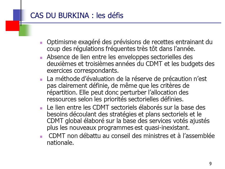 9 CAS DU BURKINA : les défis Optimisme exagéré des prévisions de recettes entrainant du coup des régulations fréquentes très tôt dans lannée.