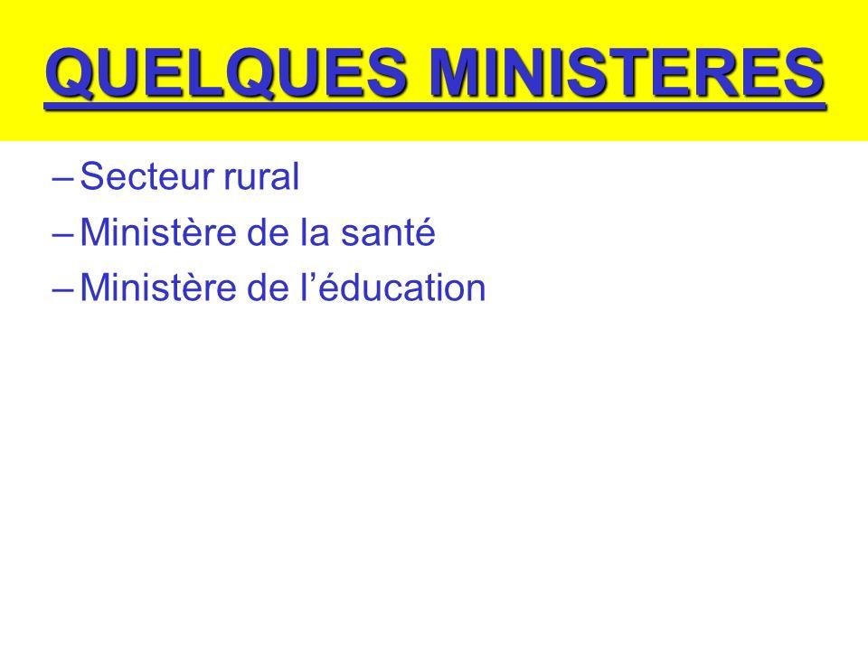 QUELQUES MINISTERES –Secteur rural –Ministère de la santé –Ministère de léducation