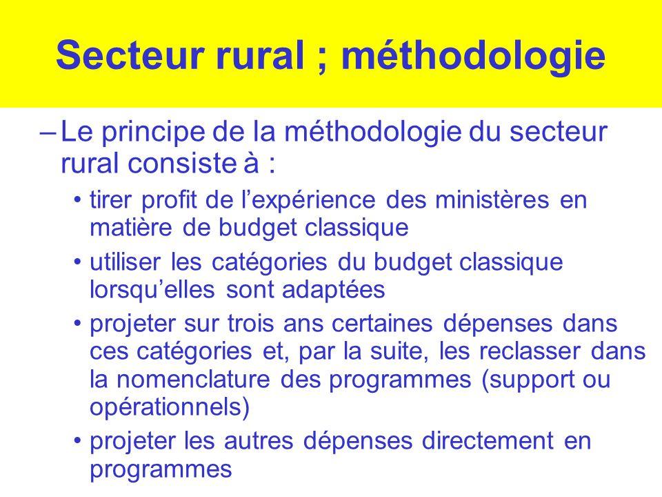 Secteur rural ; méthodologie –Le principe de la méthodologie du secteur rural consiste à : tirer profit de lexpérience des ministères en matière de bu