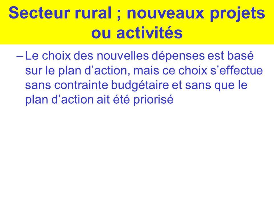 Secteur rural ; nouveaux projets ou activités –Le choix des nouvelles dépenses est basé sur le plan daction, mais ce choix seffectue sans contrainte b