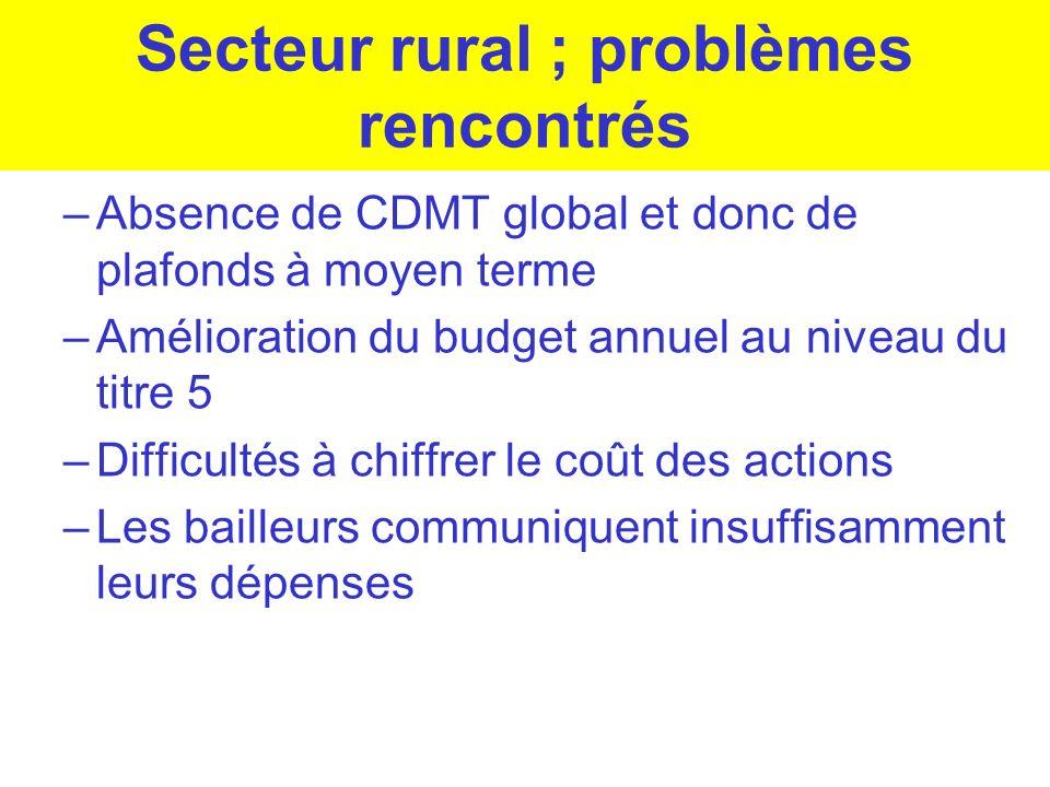Secteur rural ; problèmes rencontrés –Absence de CDMT global et donc de plafonds à moyen terme –Amélioration du budget annuel au niveau du titre 5 –Di