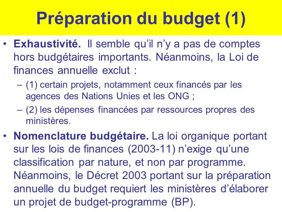 Préparation du budget (1) Exhaustivité. Il semble quil ny a pas de comptes hors budgétaires importants. Néanmoins, la Loi de finances annuelle exclut