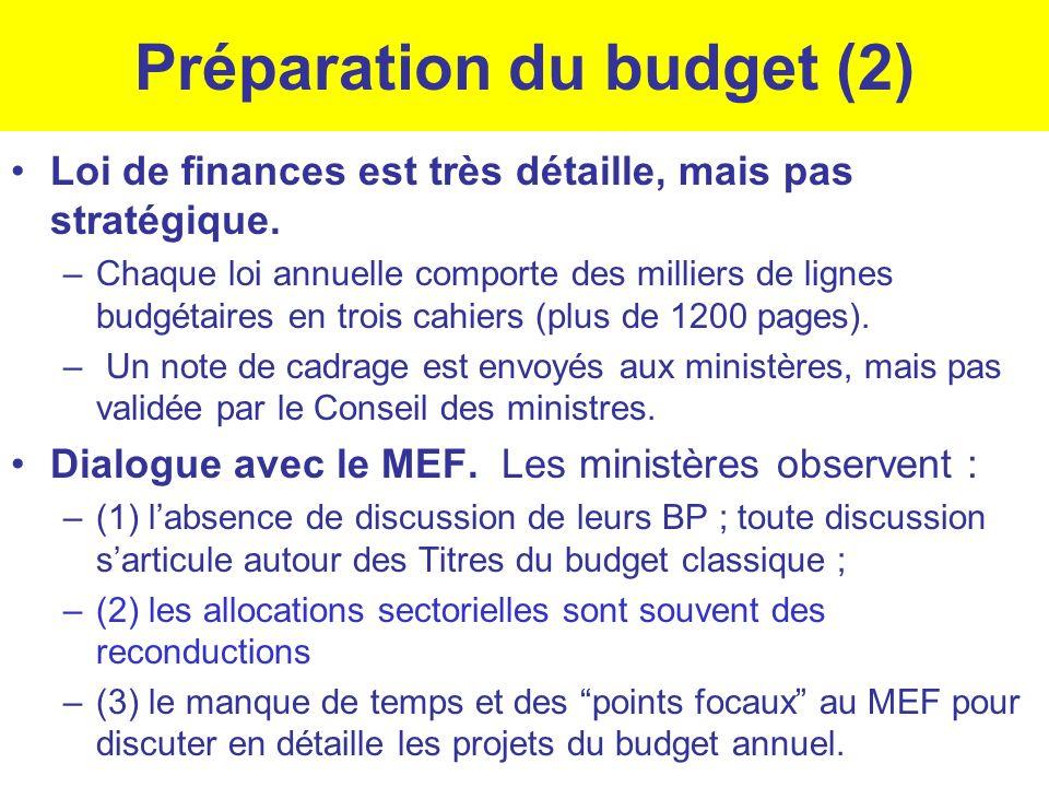 Préparation du budget (2) Loi de finances est très détaille, mais pas stratégique. –Chaque loi annuelle comporte des milliers de lignes budgétaires en