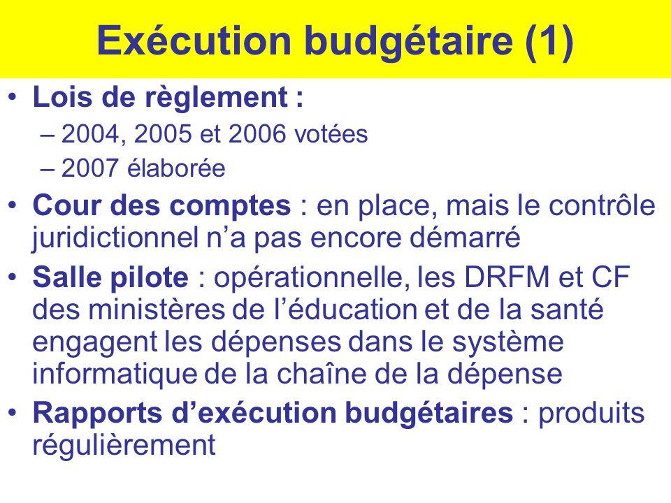 Exécution budgétaire (1) Lois de règlement : –2004, 2005 et 2006 votées –2007 élaborée Cour des comptes : en place, mais le contrôle juridictionnel na