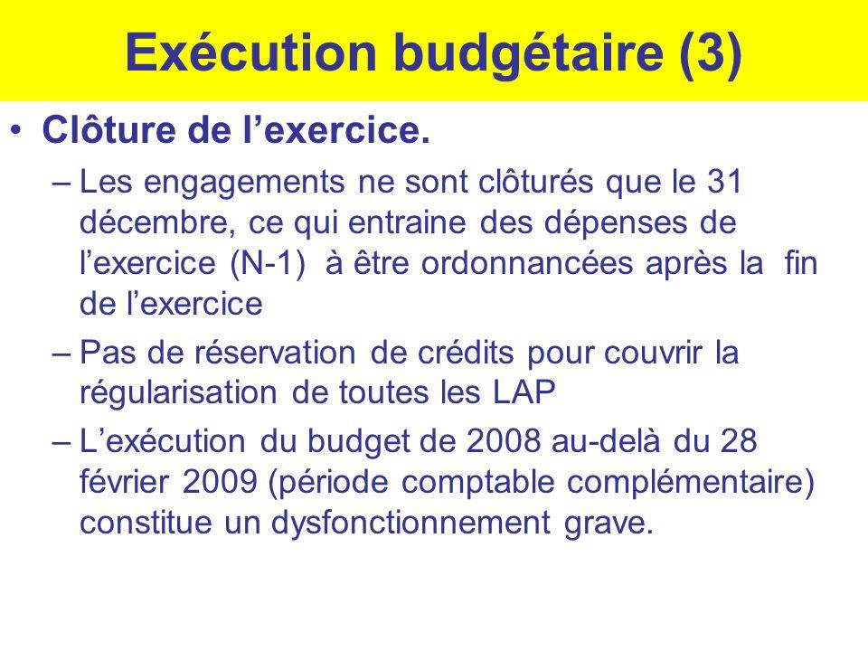 Exécution budgétaire (3) Clôture de lexercice. –Les engagements ne sont clôturés que le 31 décembre, ce qui entraine des dépenses de lexercice (N-1) à