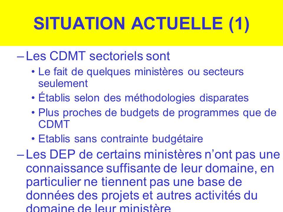 SITUATION ACTUELLE (1) –Les CDMT sectoriels sont Le fait de quelques ministères ou secteurs seulement Établis selon des méthodologies disparates Plus