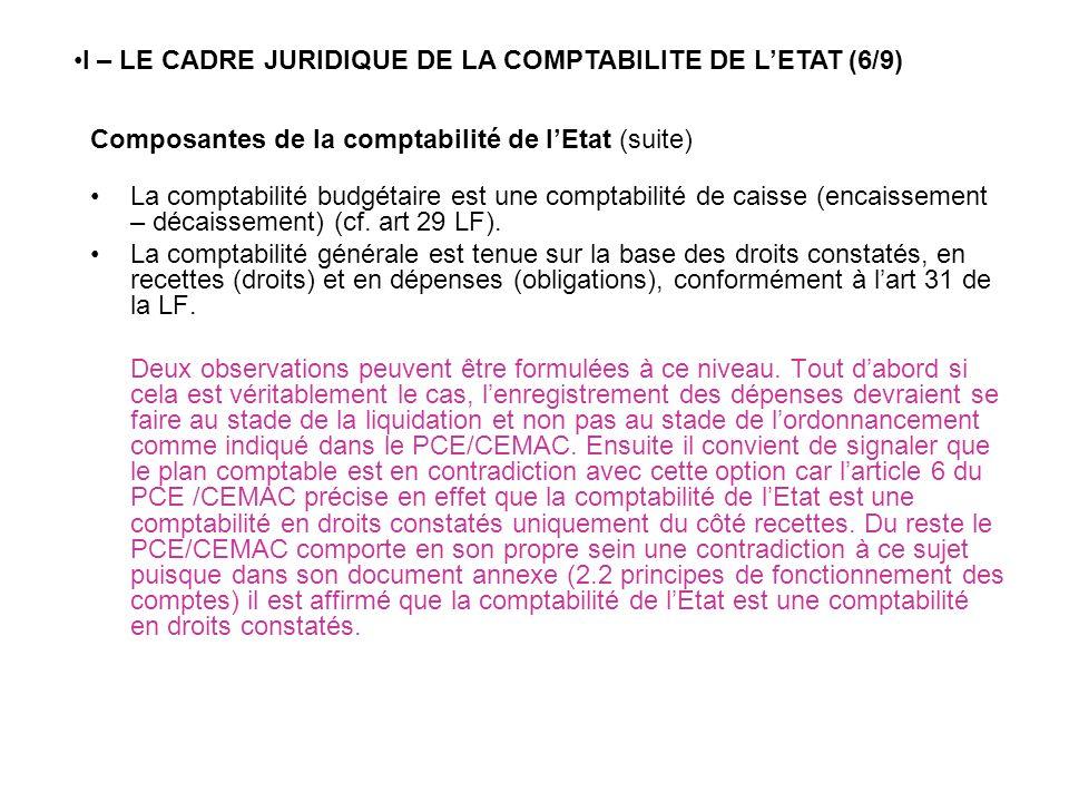 Composantes de la comptabilité de lEtat (suite) La comptabilité budgétaire est une comptabilité de caisse (encaissement – décaissement) (cf. art 29 LF
