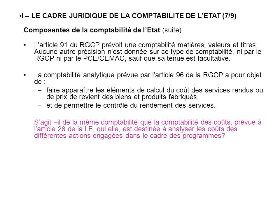Composantes de la comptabilité de lEtat (suite) Larticle 91 du RGCP prévoit une comptabilité matières, valeurs et titres. Aucune autre précision nest