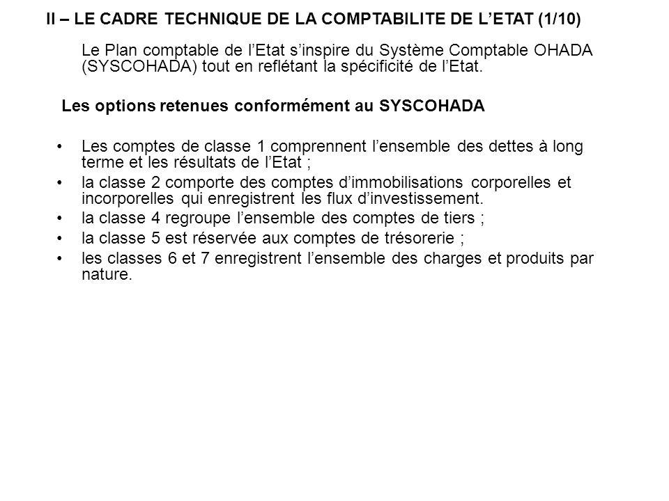Le Plan comptable de lEtat sinspire du Système Comptable OHADA (SYSCOHADA) tout en reflétant la spécificité de lEtat. Les options retenues conformémen