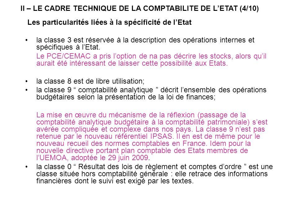 Les particularités liées à la spécificité de lEtat la classe 3 est réservée à la description des opérations internes et spécifiques à lEtat. Le PCE/CE