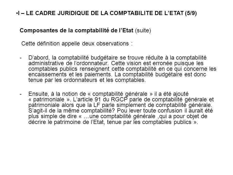 Composantes de la comptabilité de lEtat (suite) Cette définition appelle deux observations : -Dabord, la comptabilité budgétaire se trouve réduite à l