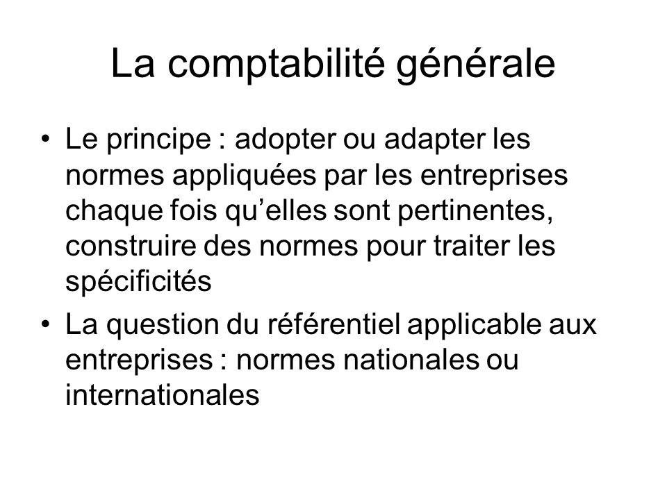 La comptabilité générale Le principe : adopter ou adapter les normes appliquées par les entreprises chaque fois quelles sont pertinentes, construire des normes pour traiter les spécificités La question du référentiel applicable aux entreprises : normes nationales ou internationales