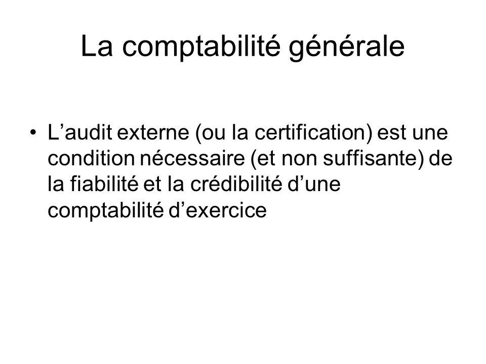 La comptabilité générale Laudit externe (ou la certification) est une condition nécessaire (et non suffisante) de la fiabilité et la crédibilité dune comptabilité dexercice
