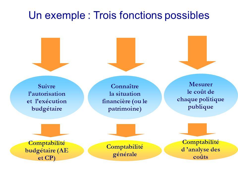 Un exemple : Trois fonctions possibles Suivre lautorisation et lexécution budgétaire Connaître la situation financière (ou le patrimoine) Mesurer le coût de chaque politique publique Comptabilité budgétaire (AE et CP) Comptabilité générale Comptabilité d analyse des coûts