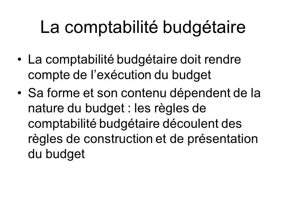La comptabilité budgétaire La comptabilité budgétaire doit rendre compte de lexécution du budget Sa forme et son contenu dépendent de la nature du budget : les règles de comptabilité budgétaire découlent des règles de construction et de présentation du budget