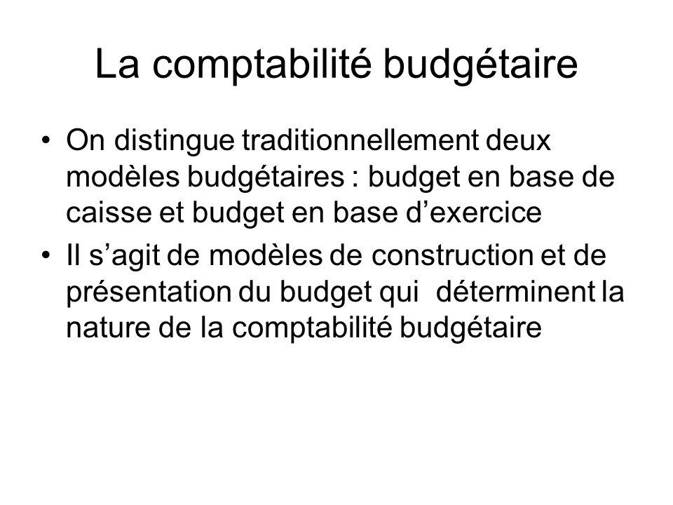 La comptabilité budgétaire On distingue traditionnellement deux modèles budgétaires : budget en base de caisse et budget en base dexercice Il sagit de modèles de construction et de présentation du budget qui déterminent la nature de la comptabilité budgétaire