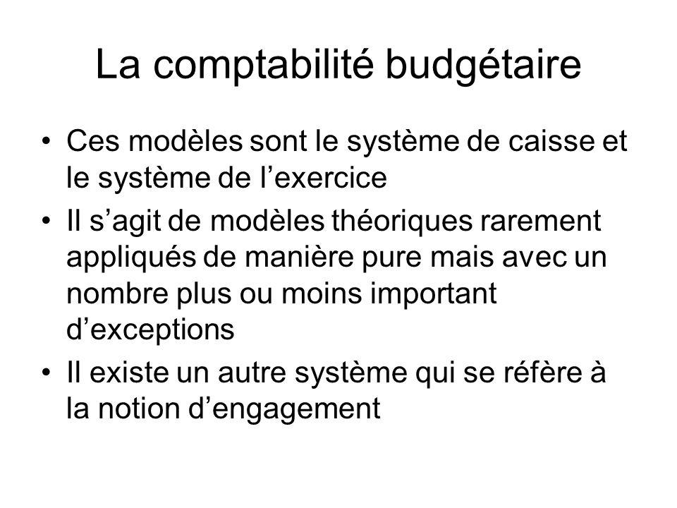 La comptabilité budgétaire Ces modèles sont le système de caisse et le système de lexercice Il sagit de modèles théoriques rarement appliqués de manière pure mais avec un nombre plus ou moins important dexceptions Il existe un autre système qui se réfère à la notion dengagement