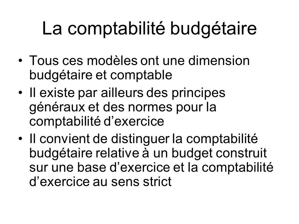 La comptabilité budgétaire Tous ces modèles ont une dimension budgétaire et comptable Il existe par ailleurs des principes généraux et des normes pour la comptabilité dexercice Il convient de distinguer la comptabilité budgétaire relative à un budget construit sur une base dexercice et la comptabilité dexercice au sens strict
