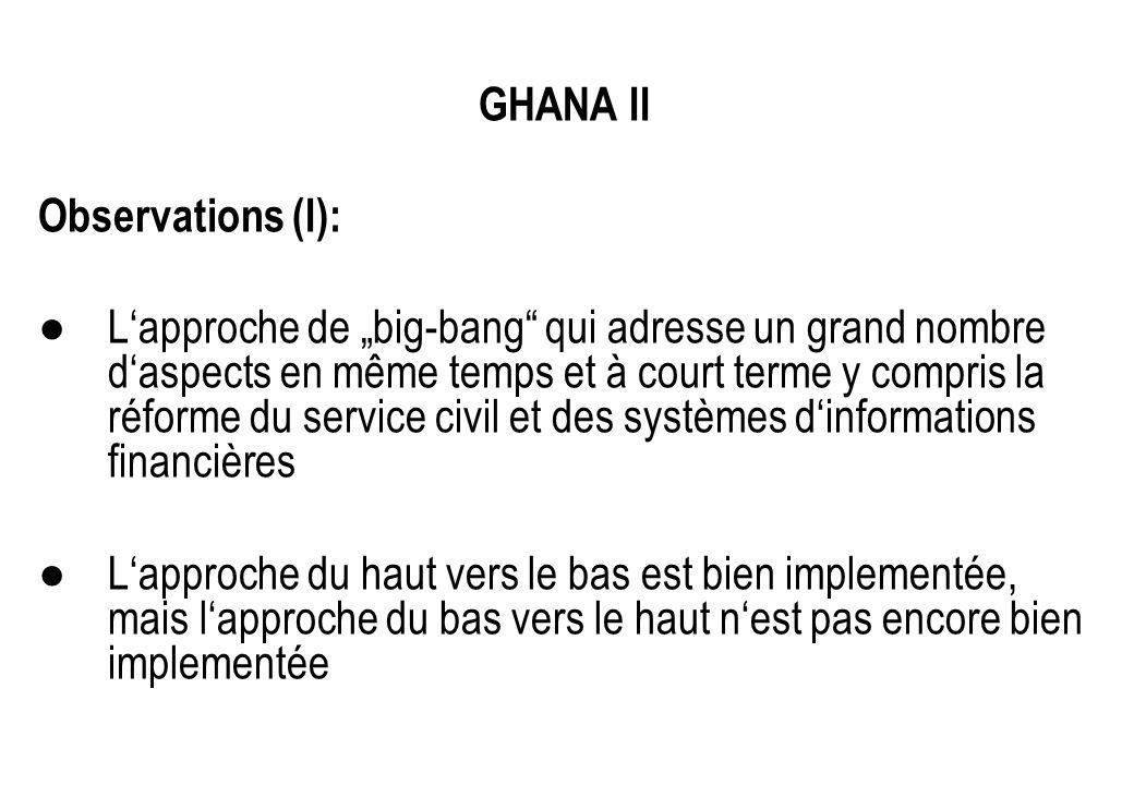 GHANA II Observations (I): Lapproche de big-bang qui adresse un grand nombre daspects en même temps et à court terme y compris la réforme du service c