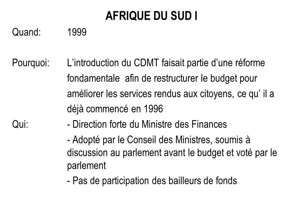 AFRIQUE DU SUD I Quand:1999 Pourquoi:Lintroduction du CDMT faisait partie dune réforme fondamentale afin de restructurer le budget pour améliorer les