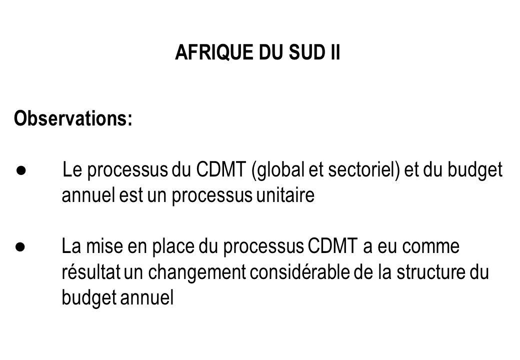 AFRIQUE DU SUD II Observations: Le processus du CDMT (global et sectoriel) et du budget annuel est un processus unitaire La mise en place du processus