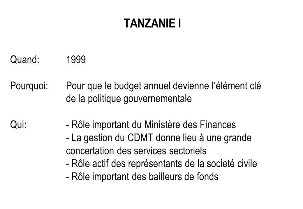 TANZANIE I Quand:1999 Pourquoi:Pour que le budget annuel devienne lélément clé de la politique gouvernementale Qui:- Rôle important du Ministère des F