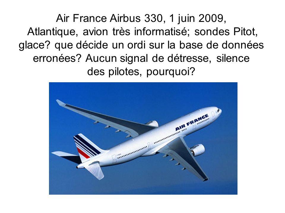 Air France Airbus 330, 1 juin 2009, Atlantique, avion très informatisé; sondes Pitot, glace.