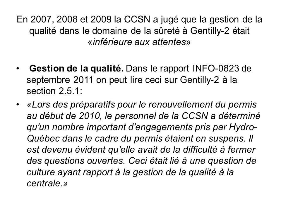 Voici ce que le rapport de la CCSN INFO-0809 pour 2009 avait divulgué sur Gentilly-2 : «2.5.2.1 Gestion de la qualité Dû à des lacunes au chapitre de la conformité aux procédures et aux lignes directrices et de la surveillance exercée par la direction, le rendement du programme « Gestion de la qualité » à Gentilly-2 était de nouveau inférieur aux attentes en 2009.